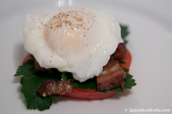 The Benny BLT ready for the Hollandaise sauce